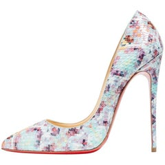 Christian Louboutin New Sold Out Mosaic Snakeskin So Kate Heels Pumps in Box