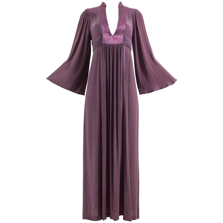 Ossie Clark 1970 pleated purple evening dress For Sale