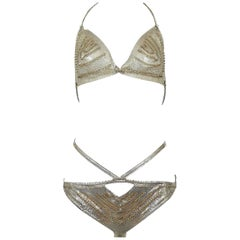 Vintage Paco Rabanne Chain Mail Metal Couture Bikini Ensemble