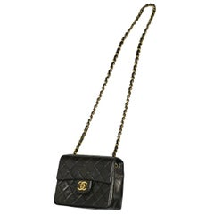 Vintage Chanel Classic Mini Quilted Black Leather Shoulder Bag