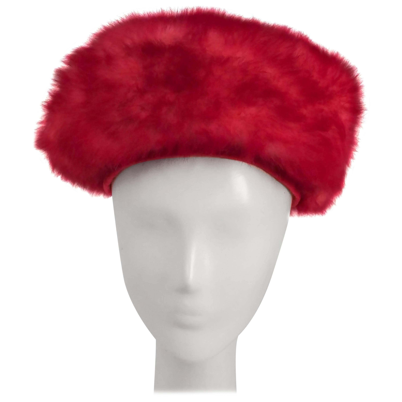 1960s Pink Faux Fur Modified Turban