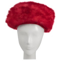 1960s Pink Faux Fur Modified Turban