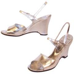 Disco Era 1970's Italian Silver Leather Wedge Sandals Sz 8-8.5