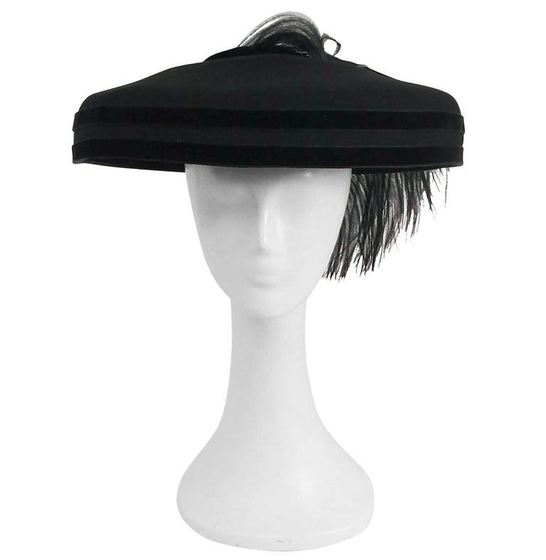 1980s Black Wool Wide Brimmed Hat w/ Feather For Sale