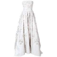 Oscar De La Renta Oyster Silk Gown with Embroidery and Organza Petals
