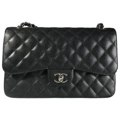 Chanel Black Caviar Leather Classic Jumbo Double Flap Bag