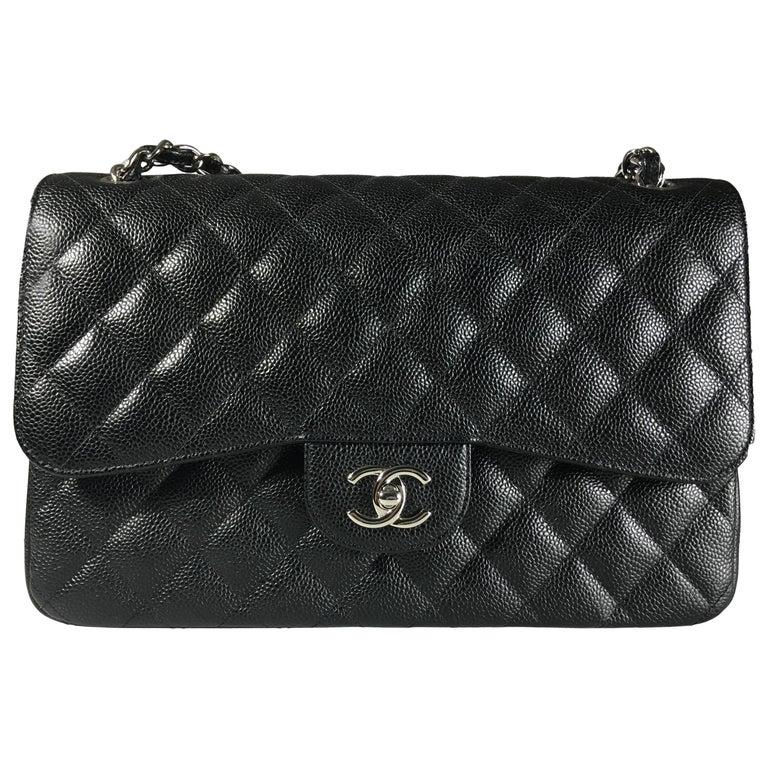 Chanel Black Caviar Leather Classic Jumbo Double Flap Bag 1
