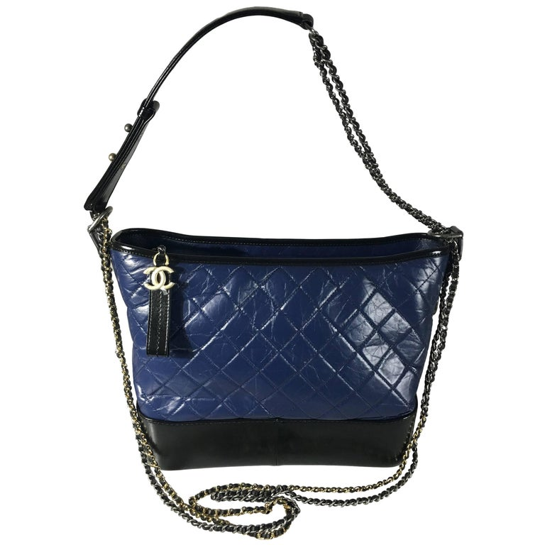 Chanel Black Navy Gabrielle Large Hobo Bag New For Sale At