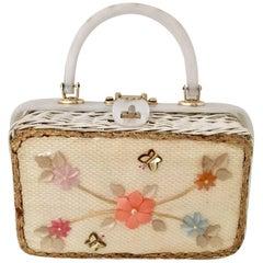 "Vintage Lucite & Wicker Box ""Florida"" Handbag"