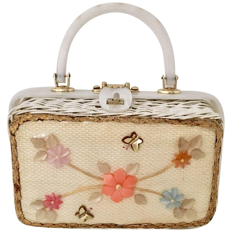 Vintage Lucite And Wicker Box Quot Florida Quot Handbag At 1stdibs