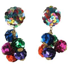 Vintage Colorful Sequin Disco Balls Dangling Chandelier Clip on Earrings