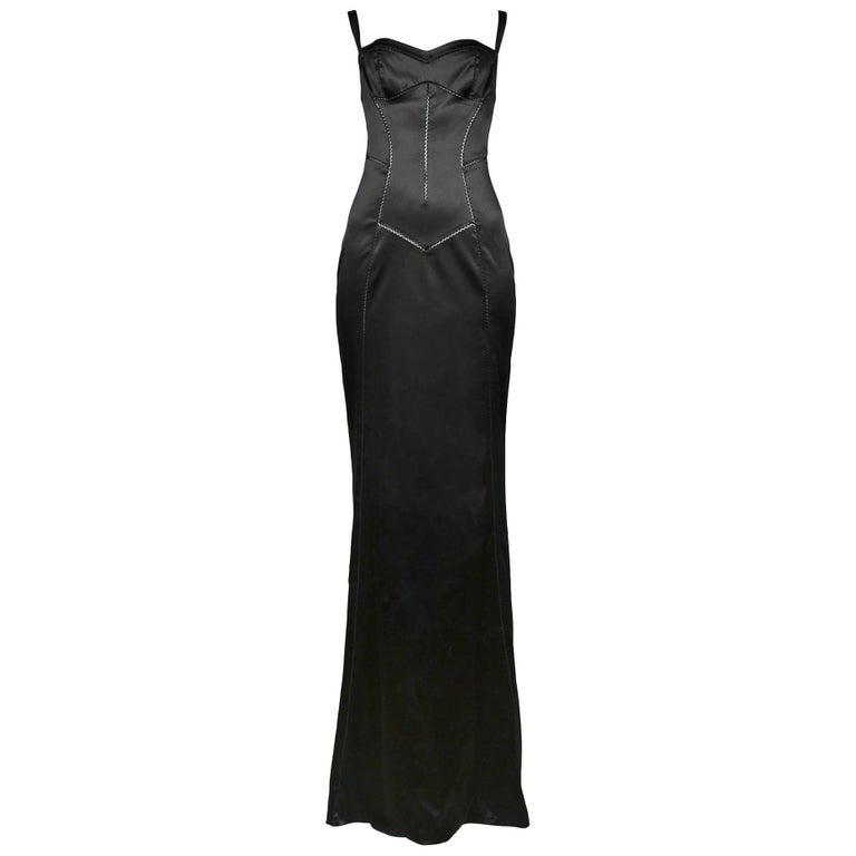 Dolce and Gabbana Black Satin Bustier Evening Gown with Train Hem ...