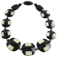 Angela Caputi Sculptural Graphic Black & White Beaded Choker Necklace