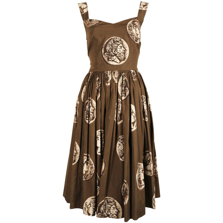 DOLCE & GABBANA Roman coin printed cotton dress