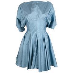 1980's AZZEDINE ALAIA turquoise nylon dress with full skirt