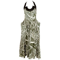 90's THIERRY MUGLER printed dress with black halter neck & wrap around pockets