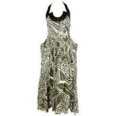 90's THIERRY MUGLER printed dress with black halter neck & wrap around pockets
