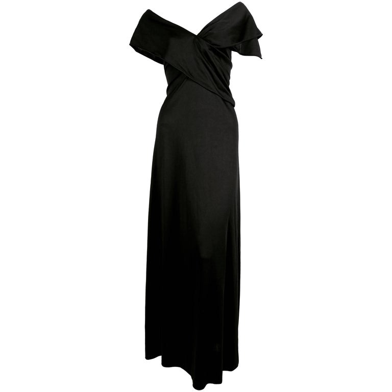1970's STEPHEN BURROWS black jersey dress with draped neckline & 'lettuce' edges