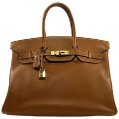 COLLECTIBLE Vintage Hermes 35 Birkin Bag Fauve Ardennes Leather Gold Hw