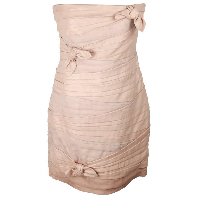 Valentino Pink Nude Leather Bustier Dress with Ruching Size 10