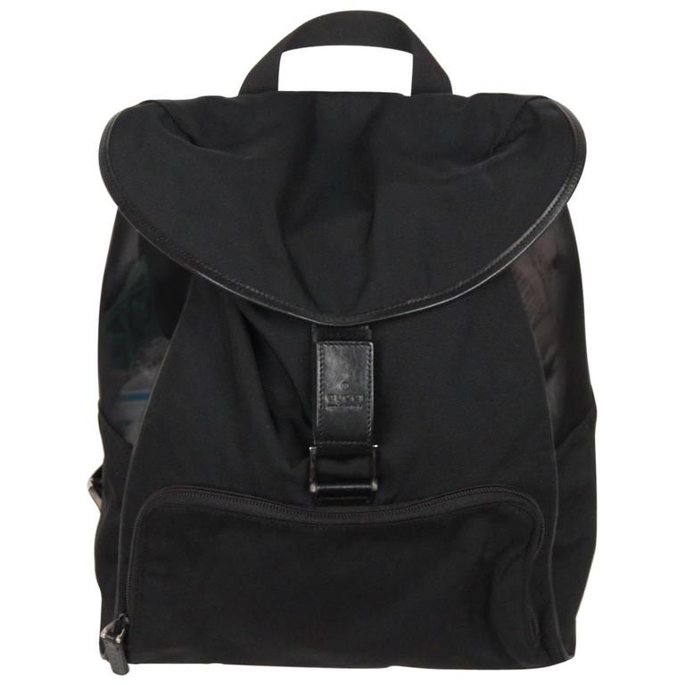eca8f96912d3 GUCCI Black Canvas and Mesh BACKPACK BAG For Sale at 1stdibs