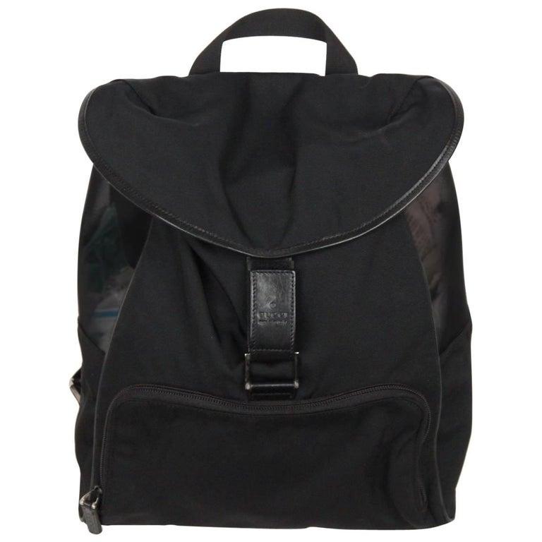 GUCCI Black Canvas & Mesh BACKPACK BAG For Sale