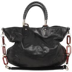 BALLY Black Leather JANA BAG Tote w/ Tortoiseshell Strap
