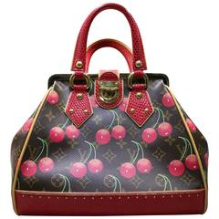 Louis Vuitton x Takashi Murakami Monogram Cerises Lizard Sac Fermoir MM