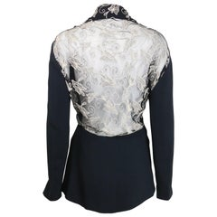 Vintage 90s Batik Black Jacket with White Embroidered Lace Behind