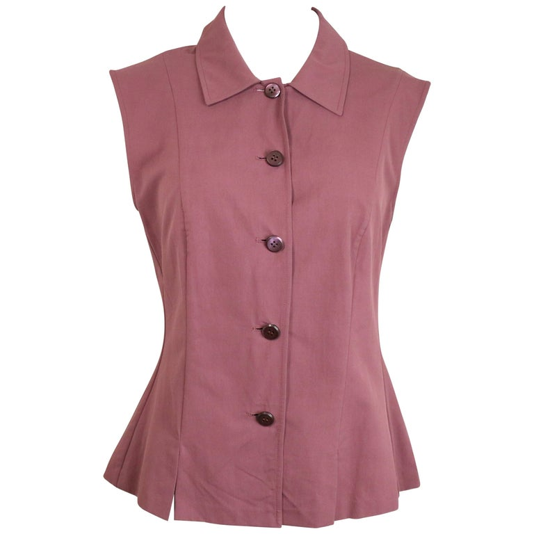 Prada Pink Sleeveless Collar Shirt