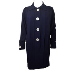 1990's Chanel Navy Blue Wool Shirt Dress with Oversize White Buttons