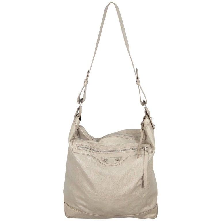 BALENCIAGA Gray Leather ARENA CLASSIC DAY Shoulder Bag