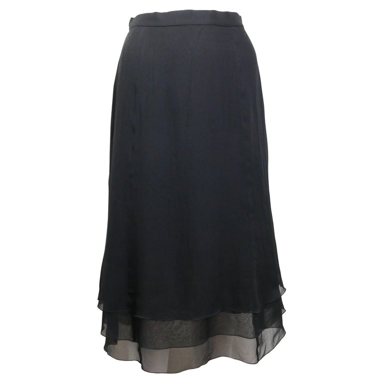 Chanel Black Silk Skirt