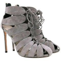 Francesco Russo Grey Lace-Up Cutout Heels