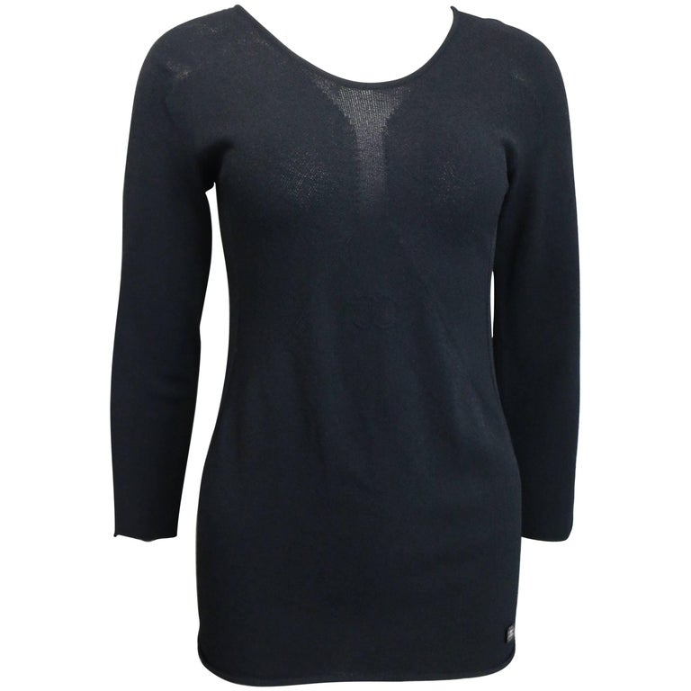 Chanel Black 3/4 Sleeves Top