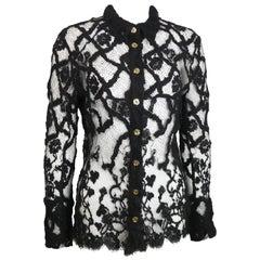 Bazar by Christian Lacroix Black Lace Shirt