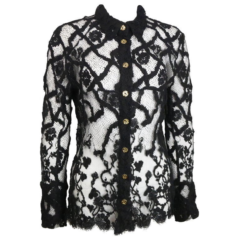 Bazar by Christian Lacroix Black Lace Shirt