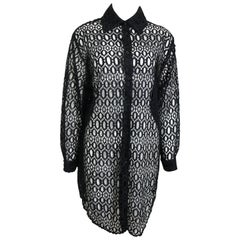 Jeff Gallano Black Lace Oblong Pattern Long Collar Shirt