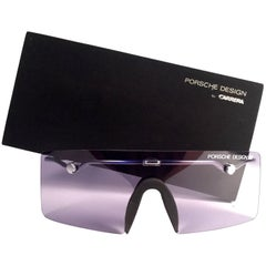 New Vintage Porsche Design 5693 Silver Foldable Flat Light Sunglasses 1990s