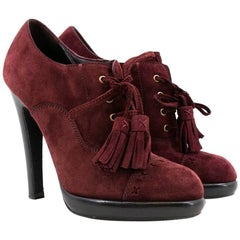 Yves Saint Laurent Burgundy Chelsea Lace Up Booties