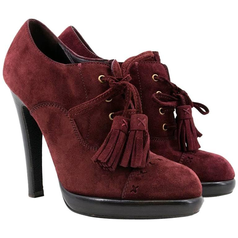 Yves Saint Laurent Burgundy Chelsea Lace Up Booties For
