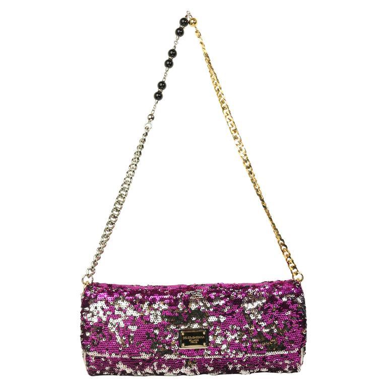 Dolce And Gabbana Multi Colour Sequins Shoulder Bag For Sale