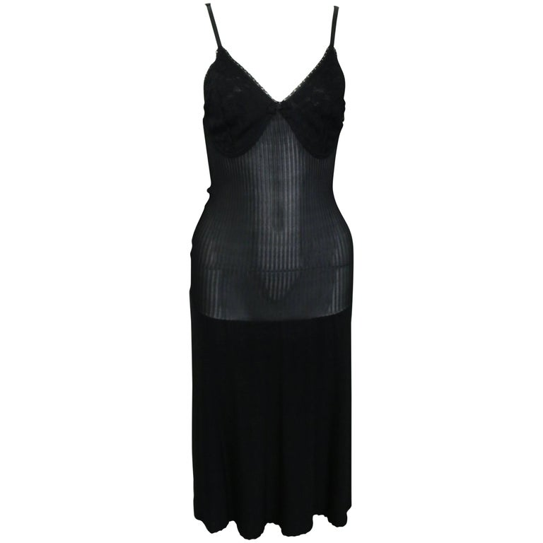 8b0958a42e98 Chanel Black Lace and Knitted Spaghetti Strap Dress For Sale at 1stdibs