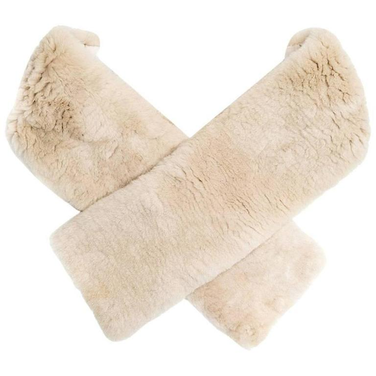 Marc Jacobs Beige Shearling Fur Scarf For Sale