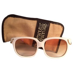 New Vintage Emanuelle Kahn Paris White Gold Accents Sunglasses France