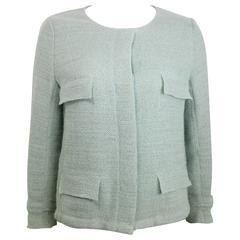 Chanel Light Green Boucle Wool 3/4 sleeves Jacket