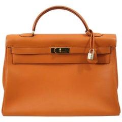 Gorgeous Hermes Kelly 40 Orange Togo Bag with Golden Hardware. Free shipping