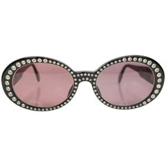 Chanel Black Rhinestones Oval Frames Sunglasses
