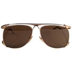 New Vintage Colani Design Gold Solid Brown Lenses Italy 1980's Sunglasses