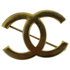 Vintage Chanel Double C Golden Brooche